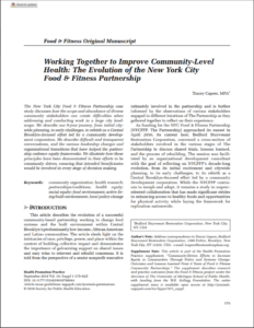Working Together To Improve Community-level Health: The Evolution Of The New York City Food & Fitness Partnership (September 2018)